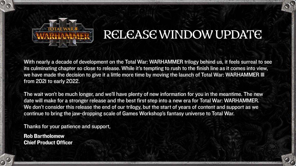 Релиз Total War: Warhammer 3 перенесли на начало 2022 года