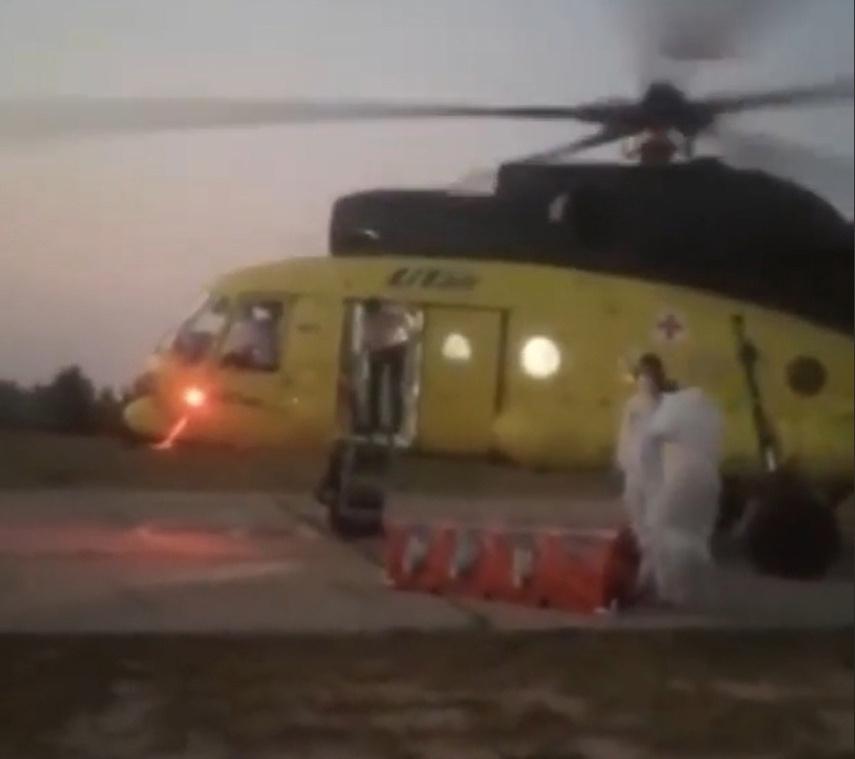 Россияне испугались вертолета и прогнали медиков, прилетевших за пациентом с COVID-19